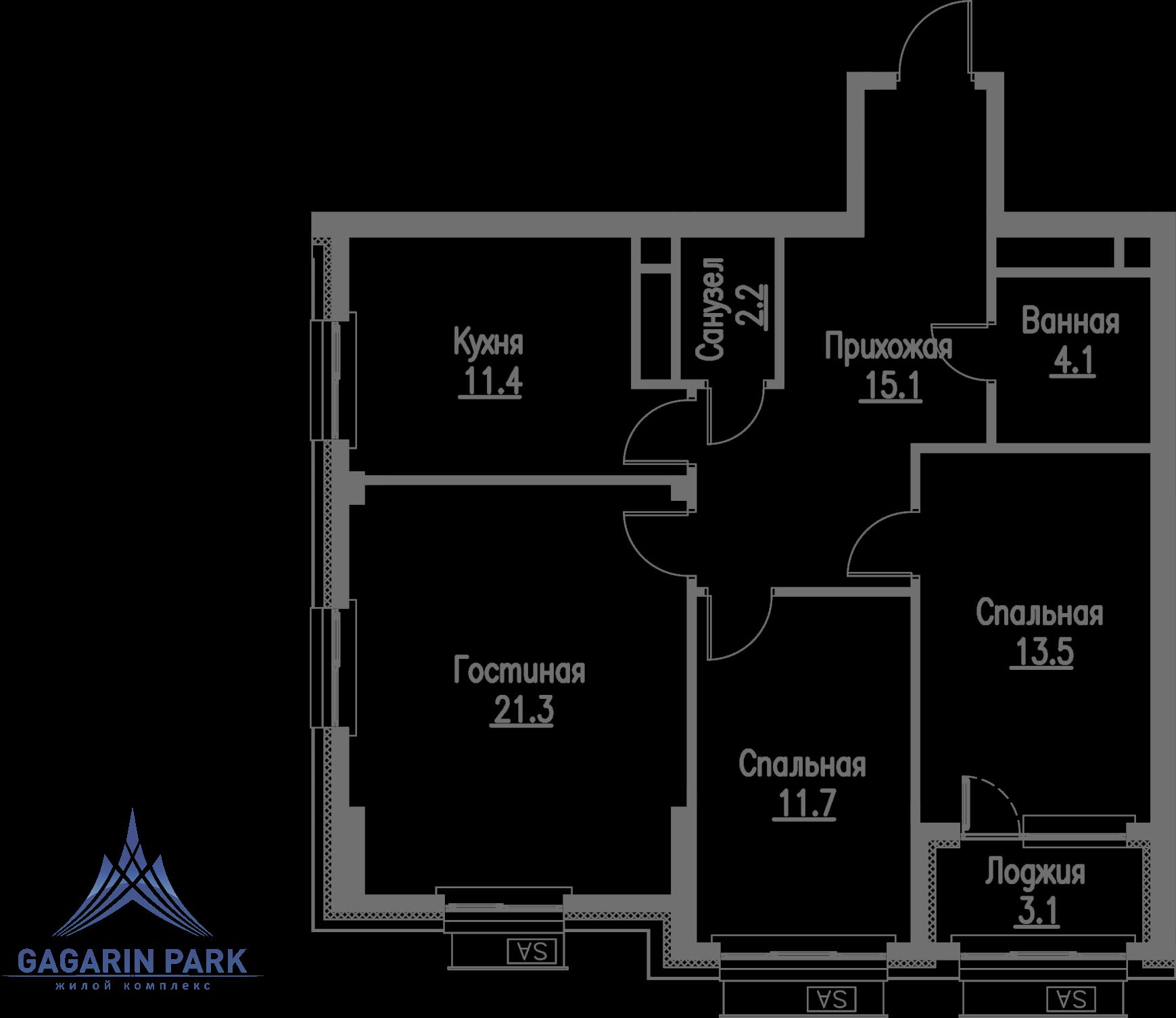 3 очередь, блок B, Квартира 58